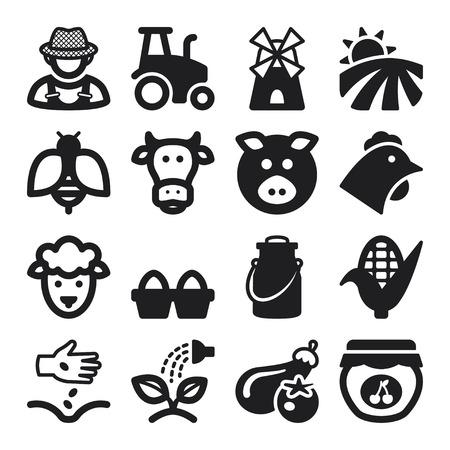 Set of black flat icons about farming 일러스트