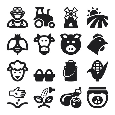 Set of black flat icons about farming Çizim