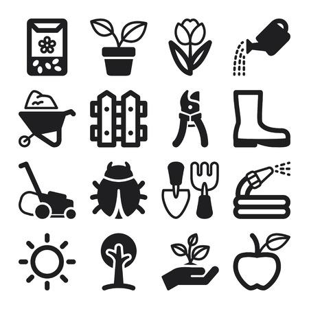 regar las plantas: Conjunto de iconos planos negros sobre jardinería