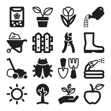 gardening equipment: Set of black flat icons about gardening