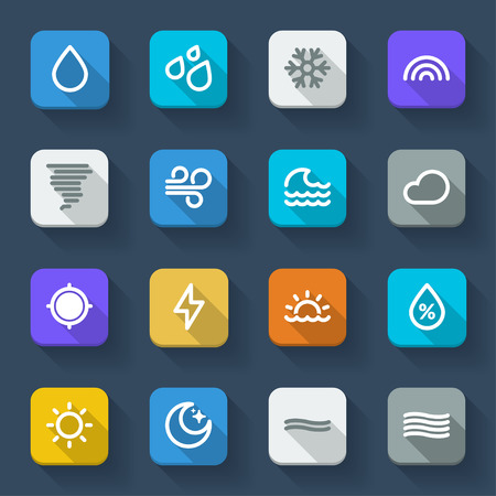humidity: Colorful icons about the weather. Forecast symbols 1 Illustration