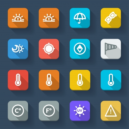Colorful icons about the weather. Forecast symbols 2 Vector