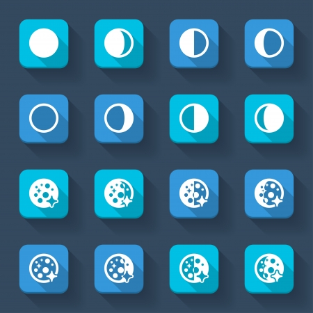 waxing gibbous: Colorful icons about the weather. Moon phases