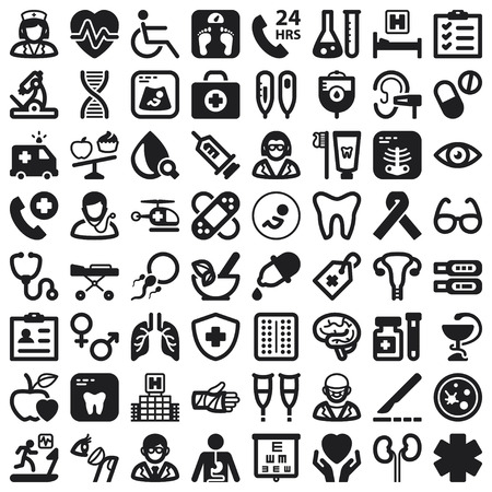 Set of black flat icons about health Çizim