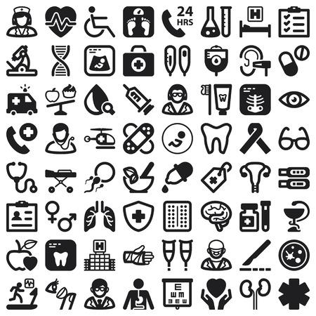 Set van zwarte vlakke pictogrammen over gezondheid Stock Illustratie