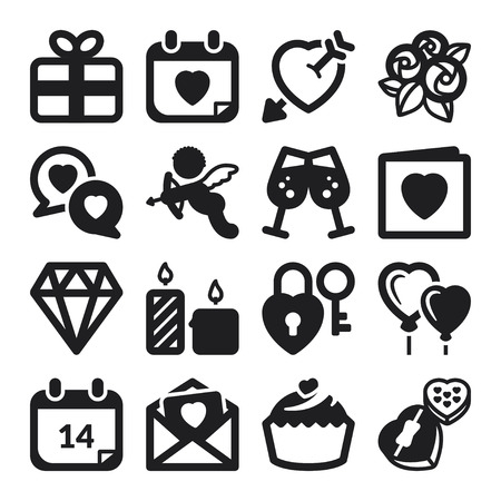 Set of black flat icons about Valentines Day Vector