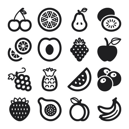 Set of black flat icons about fruit Çizim