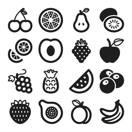 Set van zwarte platte iconen over fruit