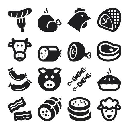 pollos asados: Conjunto de iconos planos negros alrededor de la carne.