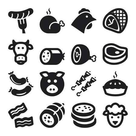 beef meat: Set of black flat icons about meat.