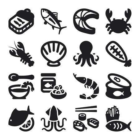 calamar: Conjunto de iconos planos negros alrededor de los mariscos Vectores