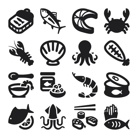 Set of black flat icons about seafood  Vector