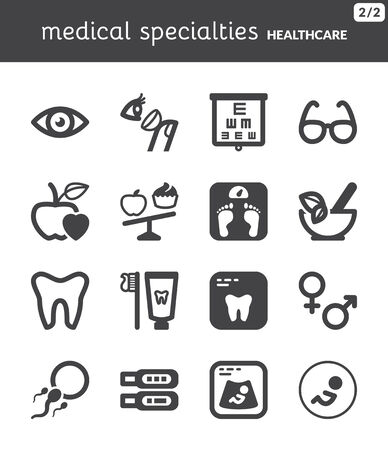 Set of black flat icons about healthcare  Nutrition  Dental  Ophthalmology  Pregnancy Vector