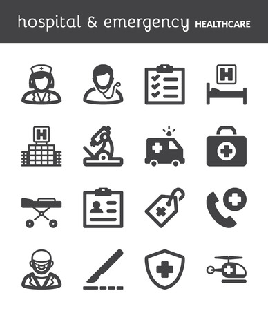 stretcher: Set of black flat icons about healthcare  Hospital and emergency  Illustration