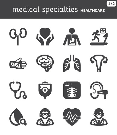 Conjunto de iconos planos negros sobre especialidades médicas de salud Foto de archivo - 25470436