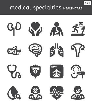 Set van zwarte vlakke pictogrammen over gezondheid Medical specialiteiten Stockfoto - 25470436