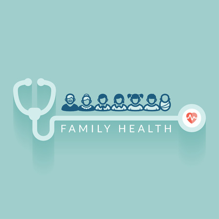 Flat design  Illustration about family health  Medical concept