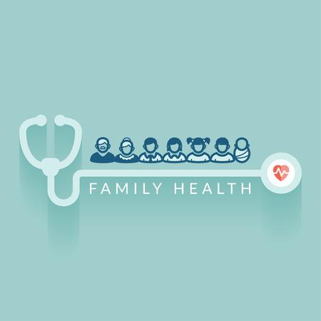 Ilustración Diseño plano Concepto médico sobre la salud de la familia