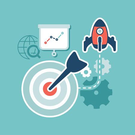 Flat design  Web marketing  Search engine optimization Vector