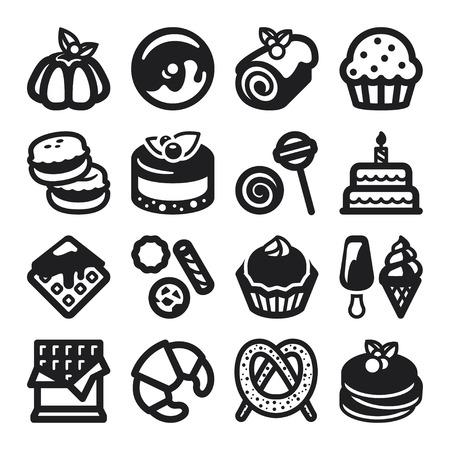 Set of black flat icons about desserts  Ilustrace