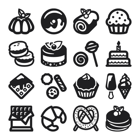 flan: Set of black flat icons about desserts  Illustration