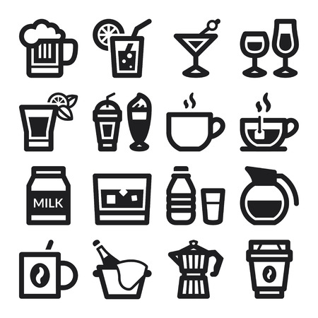 juice bar: Set of black flat icons about beverage
