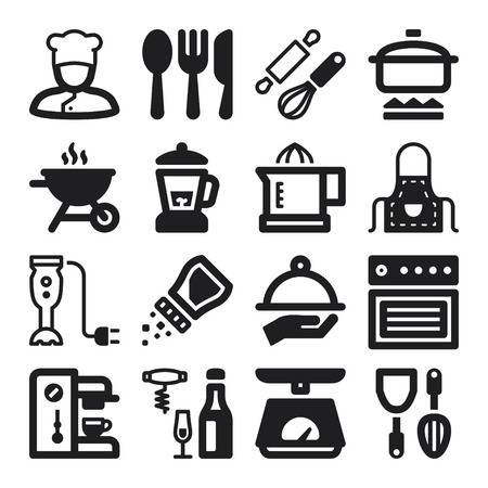 espresso machine: Set of black flat icons about cooking Illustration