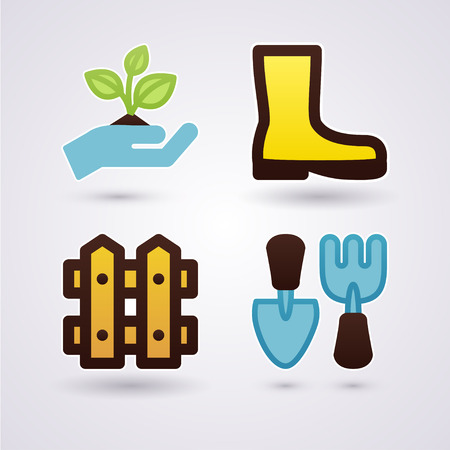 Gardening concept gumboots fence plant and tools Vector
