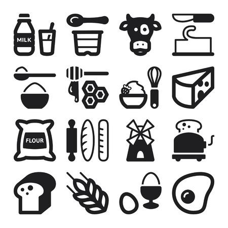 乳製品卵パンと砂糖について黒フラット アイコンのセット 写真素材 - 26038957