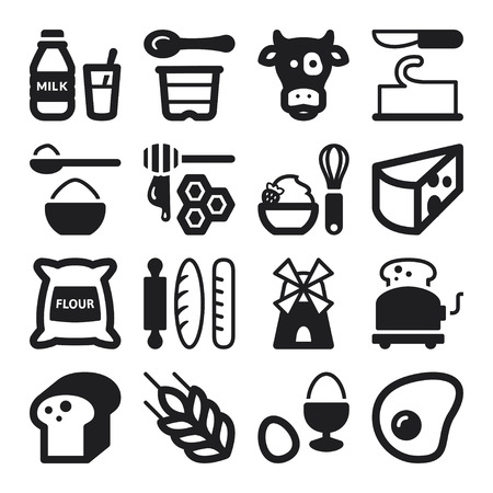 Set of black flat icons about dairy egg bread and sugar