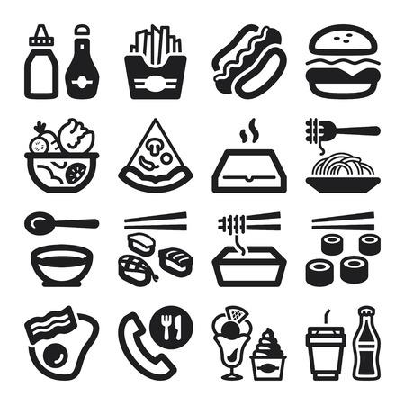 salsa de tomate: Conjunto de iconos planos negros sobre la comida rápida y comida basura Vectores