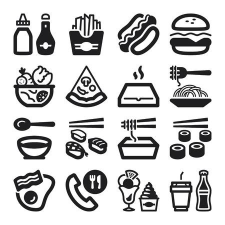 fried noodles: Set of black flat icons about fast food and junk food Illustration