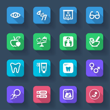 Colorful flat icons of healthcare Vector