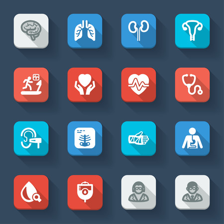 radiography: Set of flat icons of health in a square with long shadow