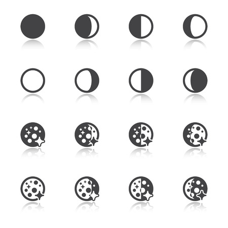 Black icons with reflection about the weather. Moon phases