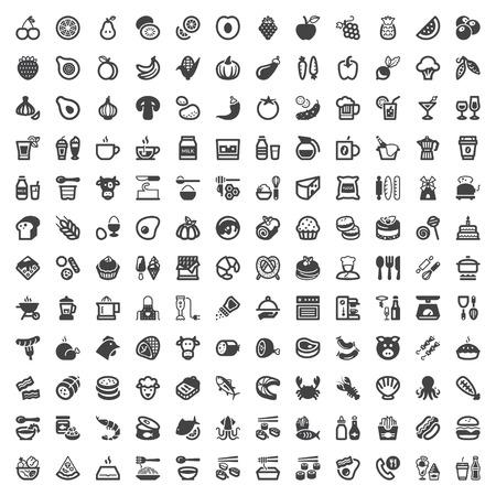 Set van vlakke pictogrammen over eten en drinken
