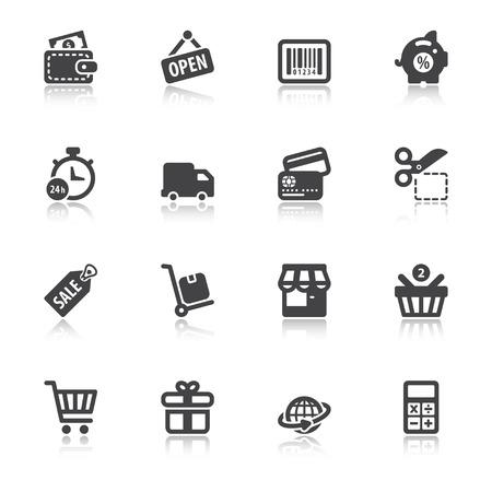 ショッピングについては、リフレクションと黒のフラット アイコンのセット