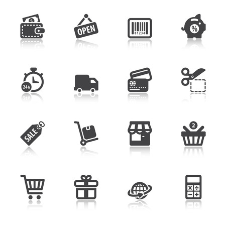 Set of black flat icons with reflection about shopping Çizim
