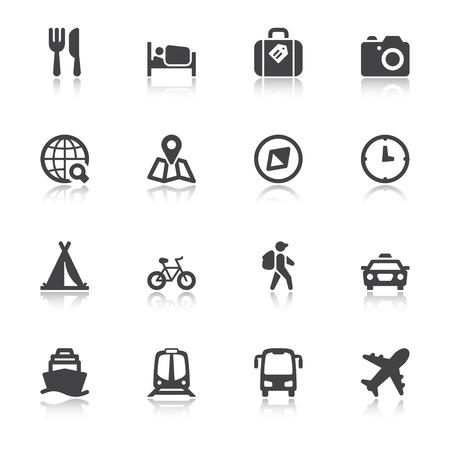 Set of black flat icons with reflection about travel Ilustração