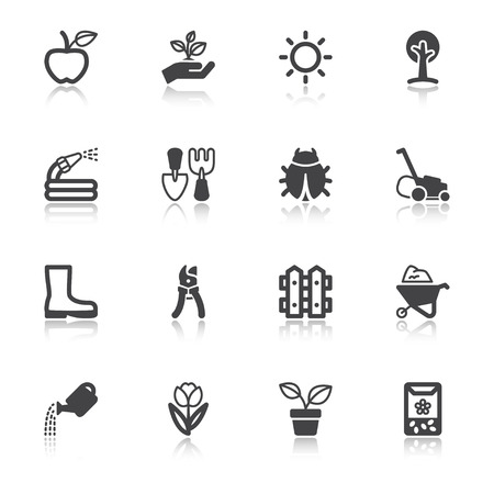 Set of black flat icons with reflection about gardening
