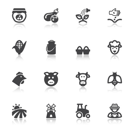 Set of black flat icons with reflection about farming