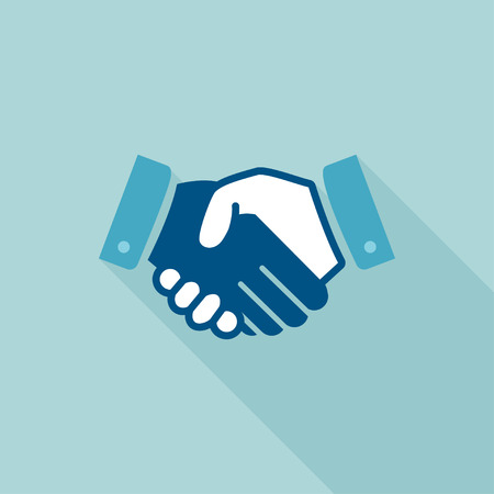 Handshake icon. Flat design. Background about business and finances Ilustração