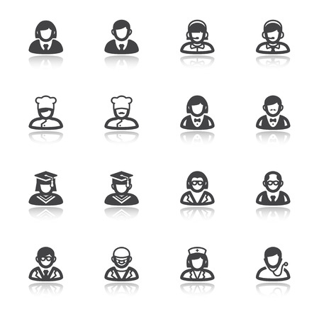 Set of flat icons with reflection about people. Professions and roles
