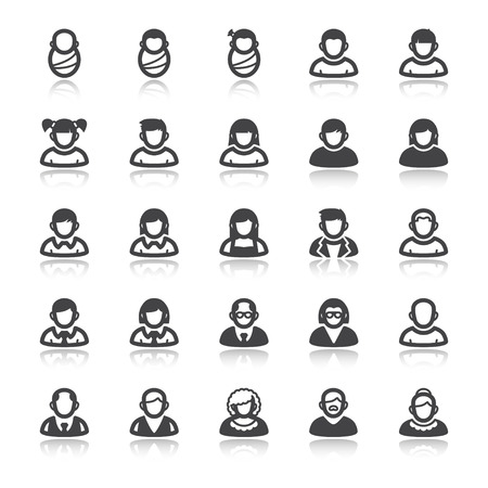 middle age women: Set of flat icons with reflection about people. Age. Life stage
