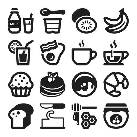 yogur: Conjunto de iconos planos negros sobre el desayuno.