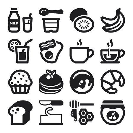 bread and butter: Set of black flat icons about breakfast. Illustration