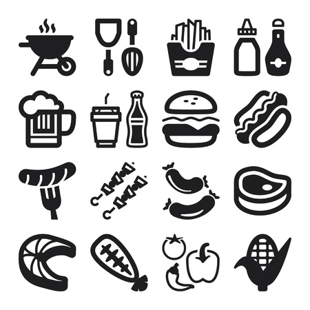 hot dog: Set of black flat icons about barbecue