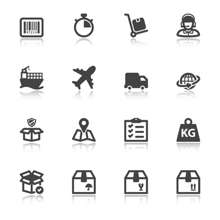 kilograms: Set of black flat icons with reflection about shipping Illustration