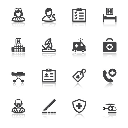 Set of black flat icons with reflection about healthcare. Hospital and emergency. Illustration