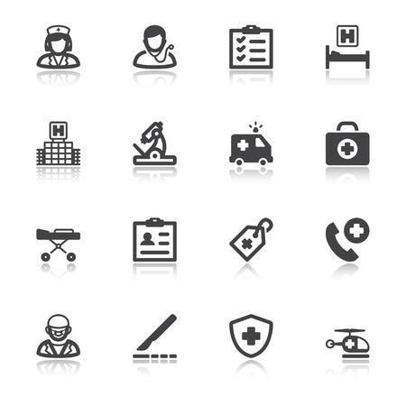 Set of black flat icons with reflection about healthcare. Hospital and emergency. Ilustração